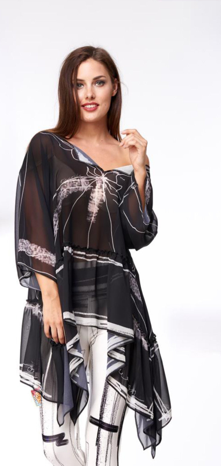 IPNG: Tuxedo Scribbled Asymmetrical Sketch Wear Tunic (Ships Immed, 1 Left!) IPNG_NWTU091
