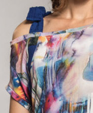 Myco Anna: Asymmetrical Watercolor Cold Bow Shoulder Tunic (1 Left!)