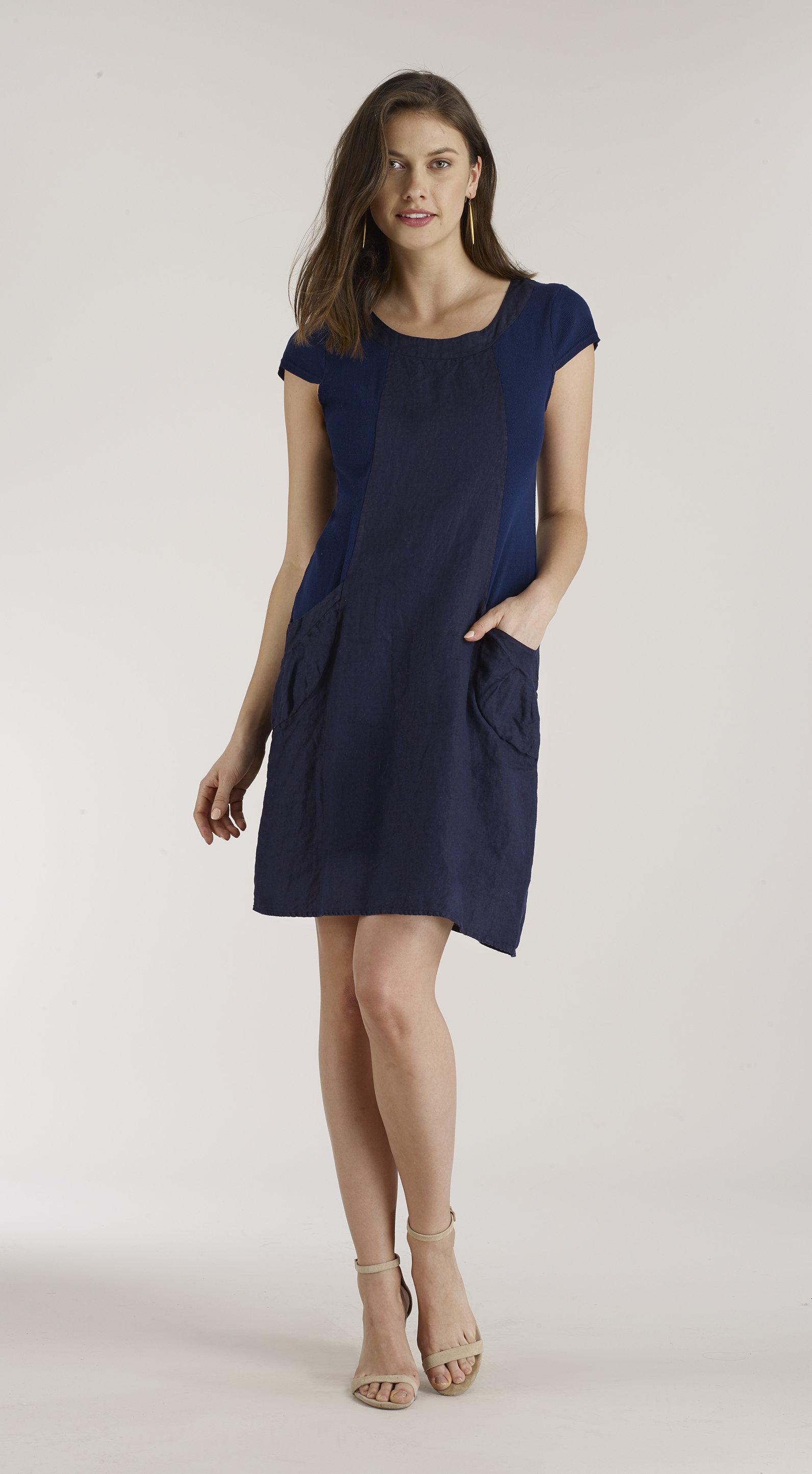 Luna Luz: Ribbed Linen & Cotton Capped Sleeve Dress (Ships Immed, 1 Left!) LL_764_N