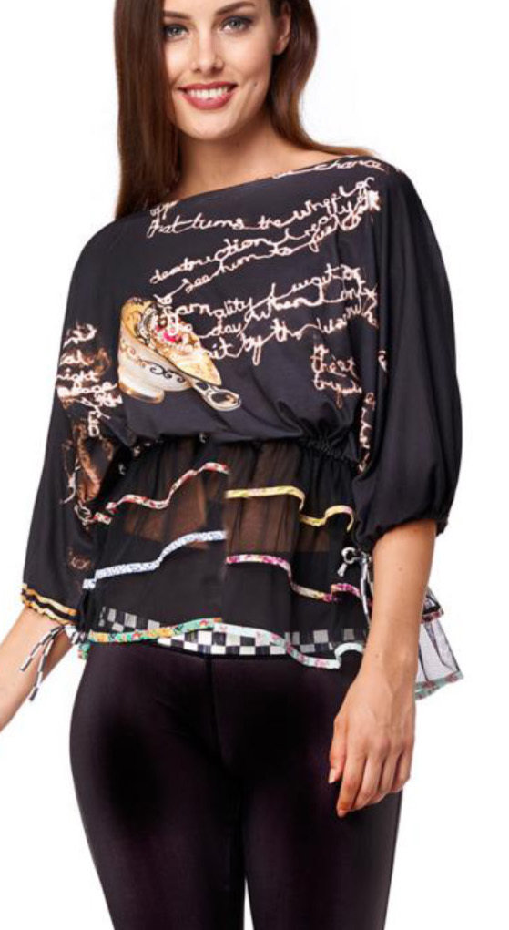 IPNG: Magical Tea Kettle Ruffled Illusion Top (1 Left in Black, Ships Immed!) IPNG_TTBTM-058_N