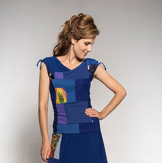 Myco Anna: Pretty In Patchwork Ruched & Tied Top (2 Left!) MA_IRIS_C3_N2