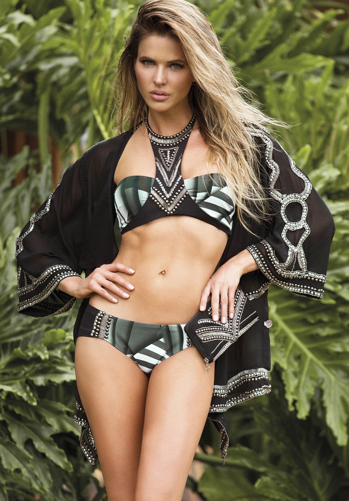 Paradizia Swimwear: Black Onyx Cutout Bikini Top (Shown with Matching Onyx Bottoms, 1 Left!)