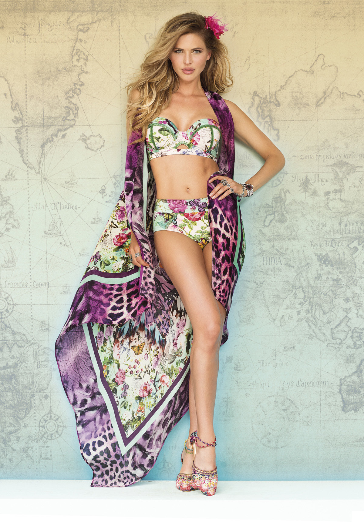 Paradizia Swimwear: Pink Butterflies High Waisted Bottoms (1 Left!)