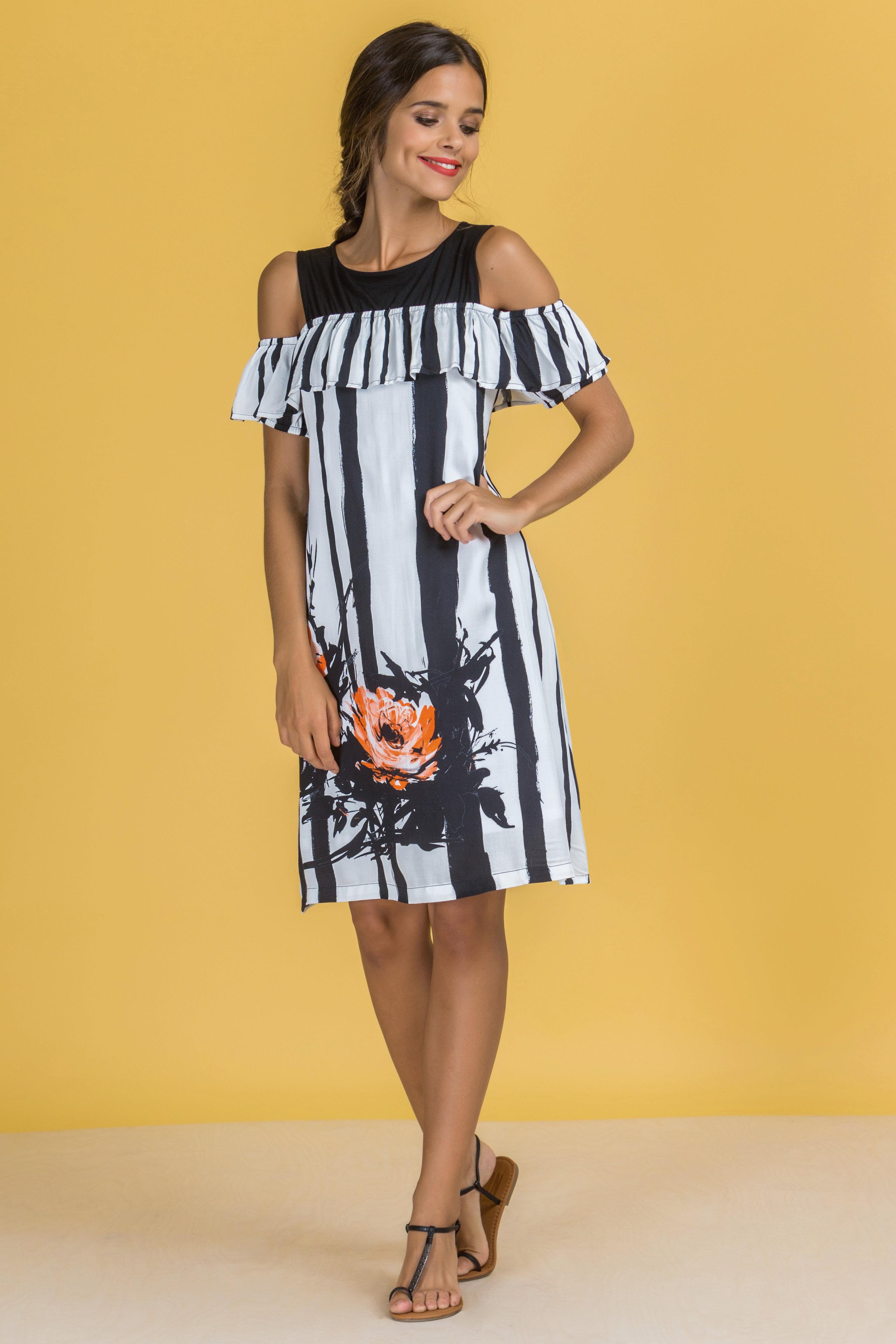 Paul Brial: Wild Orange Rose Cold Shoulder Ruffled Midi Dress PB_CHROMATIC_N