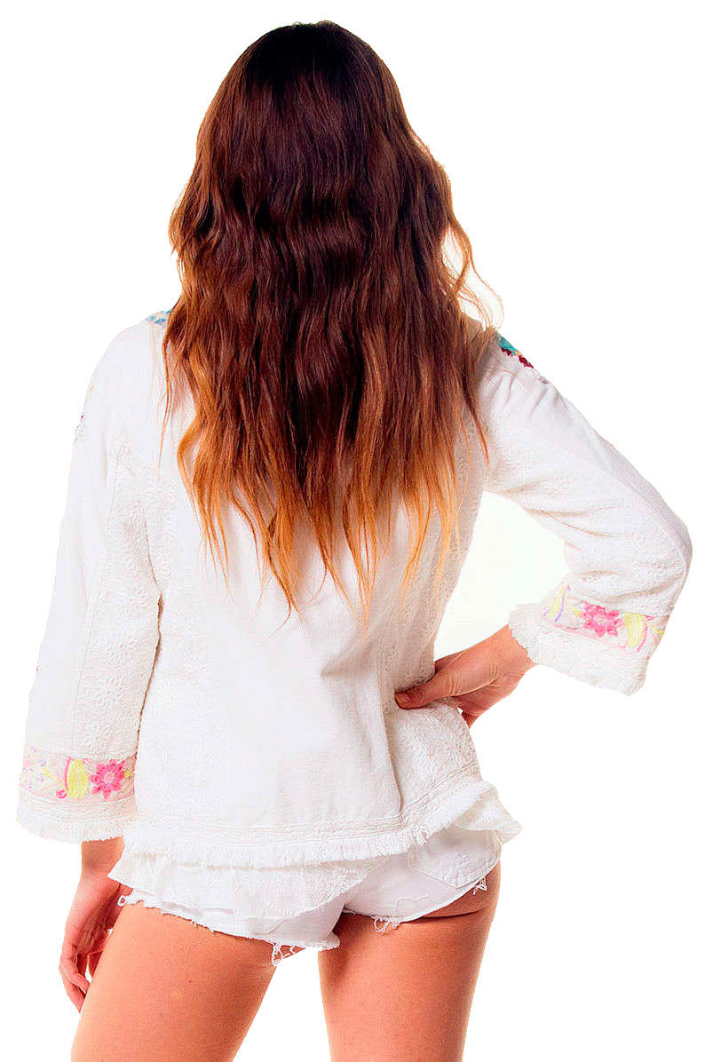 Savage Culture: Twinkle Little Star Embroidered Cotton Zip Up Jacket