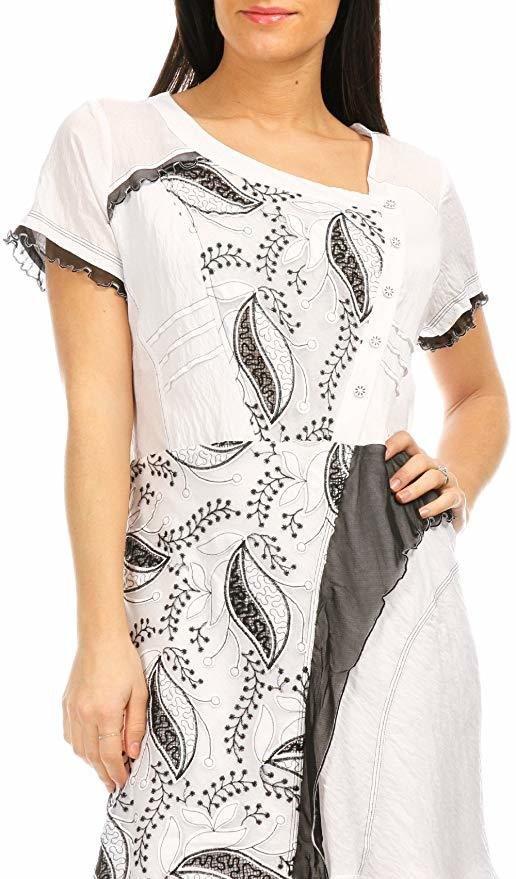 S'Quise Paris: Cupcake Arabesque Print Peek-A-Boo Crinkled Maxi Dress