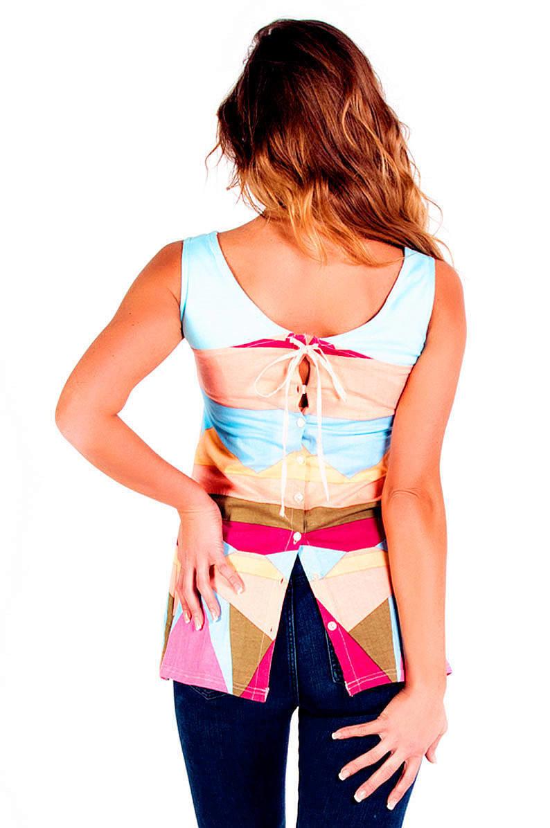 Savage Culture: Rosette Sky of Venice Corset Back-Tied Cotton Tunic SAVAGE_34101_N1