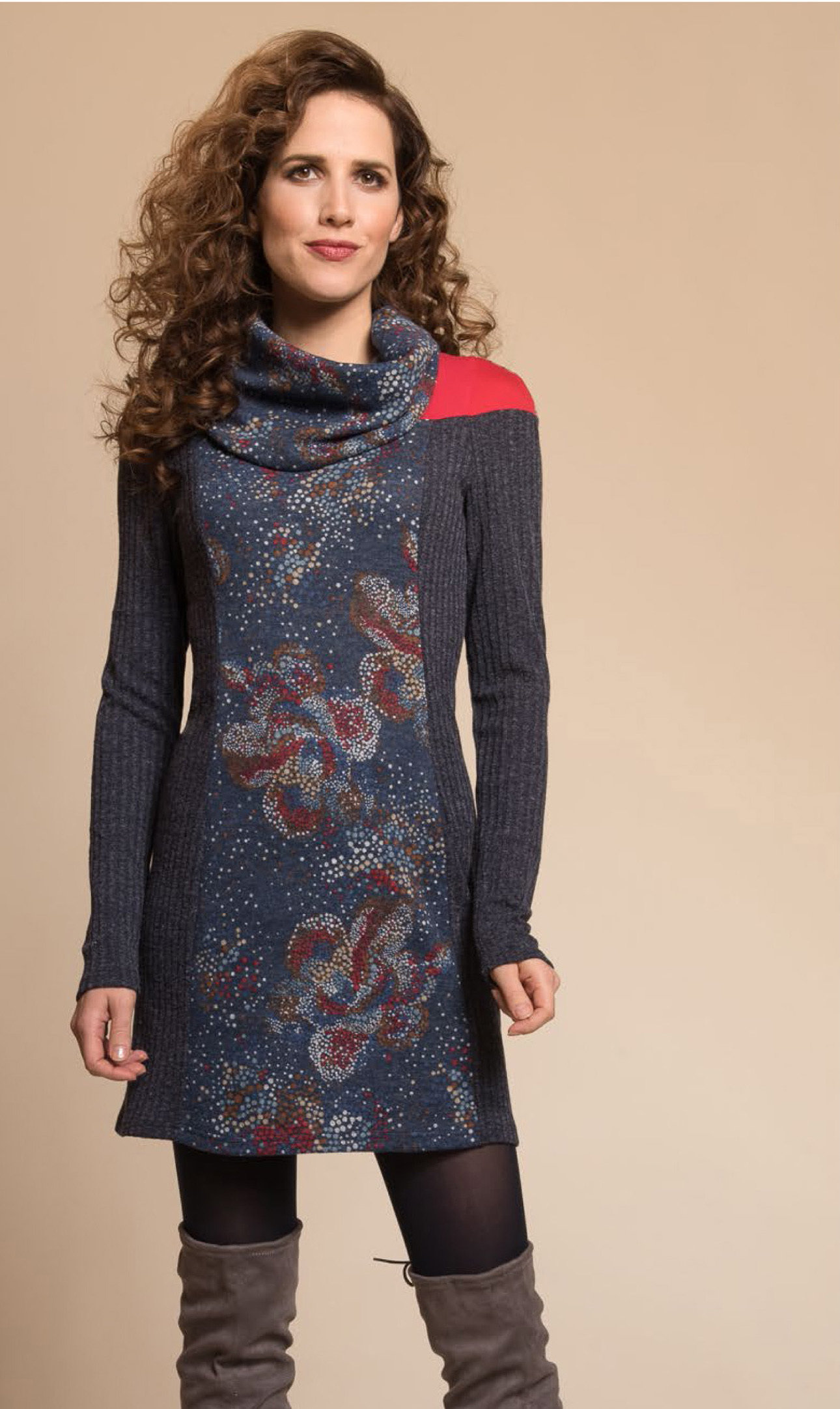 Myco Anna: Cosmic Eco-Wear Asymmetrical Patchwork Sweater Dress SOLD OUT MA_DIVERSITE_C2_N1