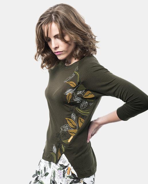 Mamatayoe: Olive Martini Falling Petals Asymmetrical Tunic