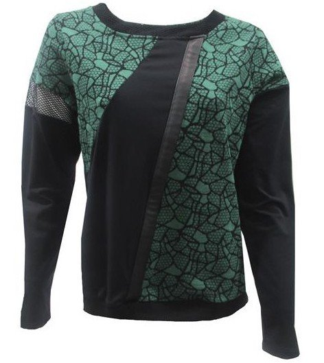 Maloka: Forest Rose Cotton Jacquard Patchwork Asymmetrical Sweater