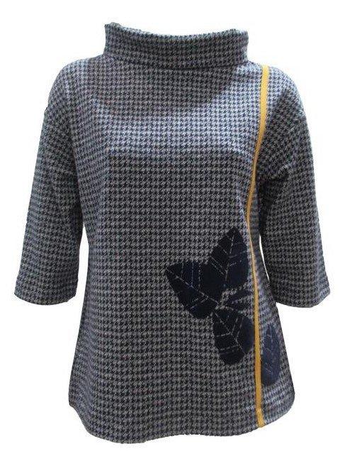 Maloka: Midnight Blue Jacquard Fit & Flare Flower Sweater (Few Left!) MK_PAKI