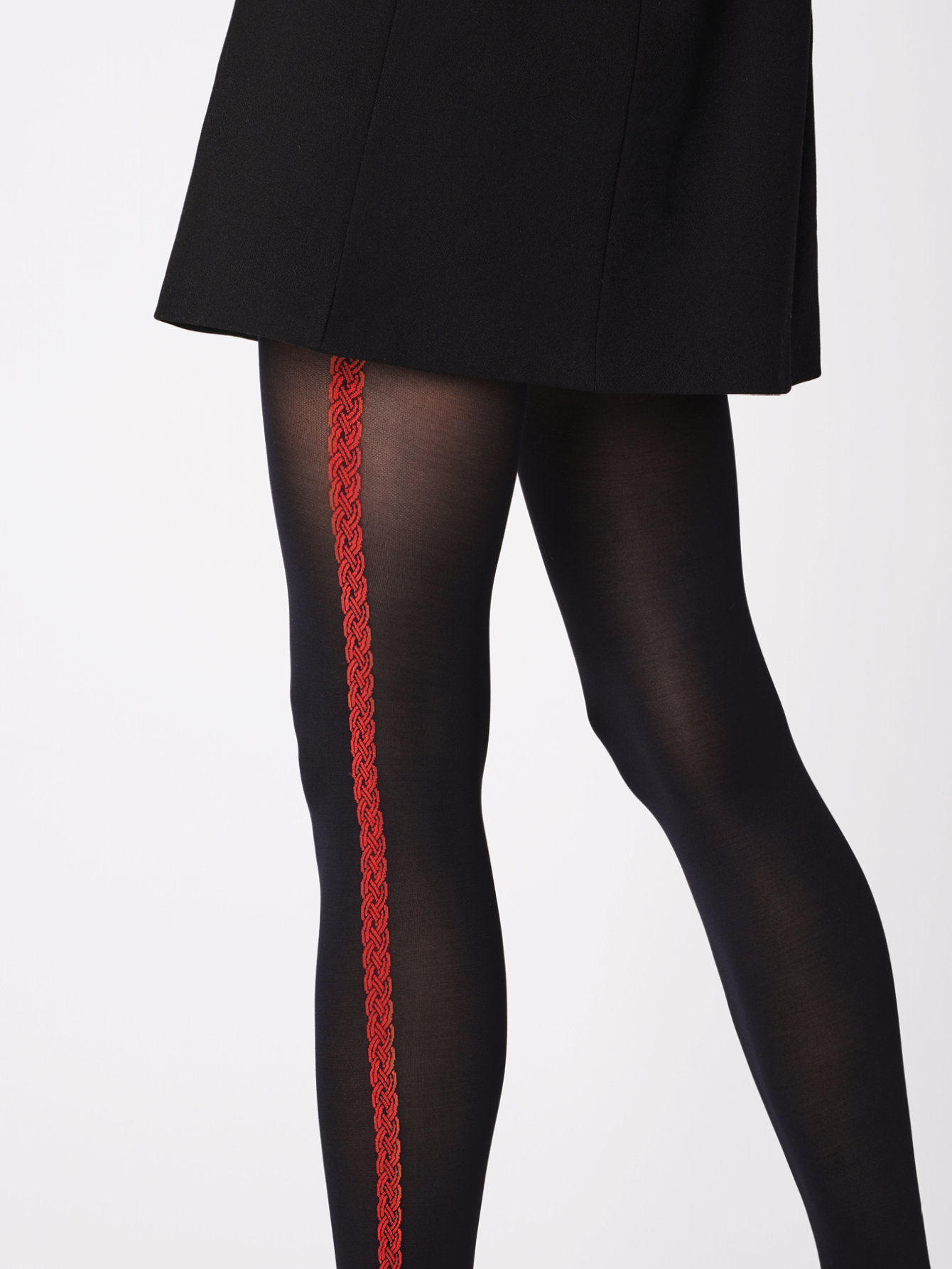 Fiore: Red Lipstick Side Striped Opaque Tights (2 Left!)