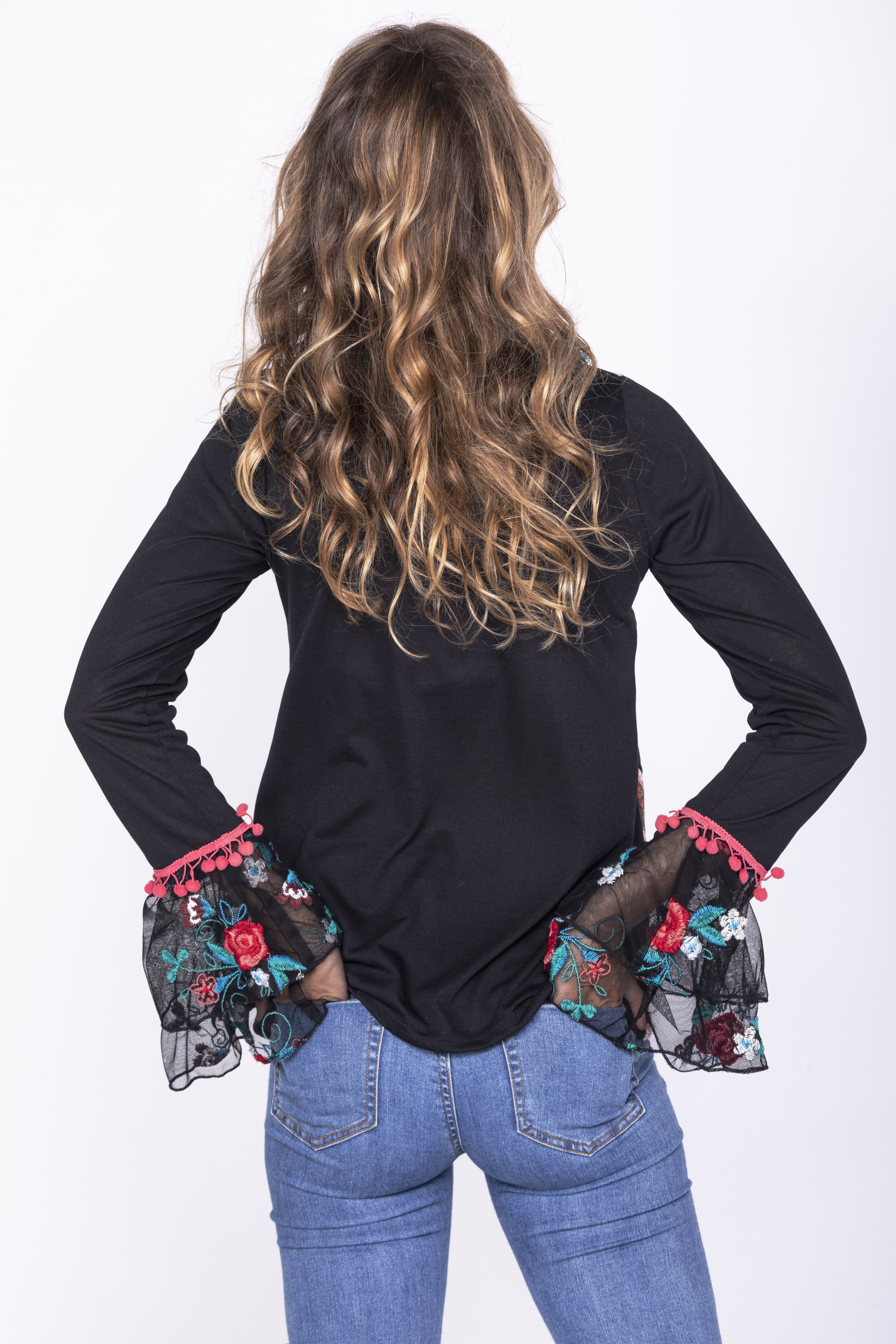 Savage Culture: Little Black Embroidered Rose Cuffed Tunic San Petersburgo
