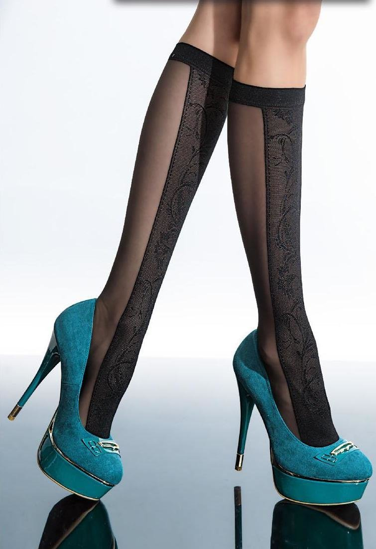 Fiore: Color Block Flower Patterned Semi-Opaque Knee Highs FIO_COSTA