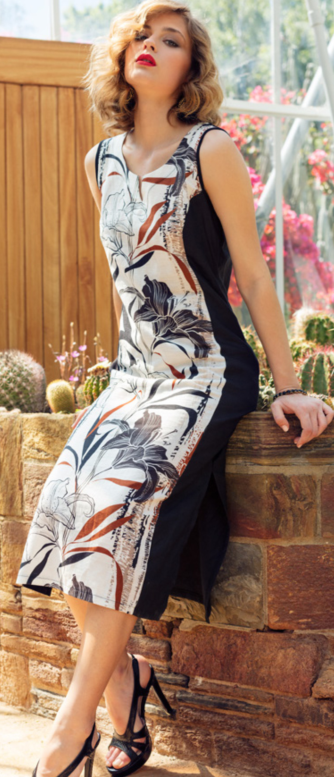 Maloka: Black Lily Sketch Art Colorblock Linen Maxi Dress (1 Left!) MK_YELDA_N3