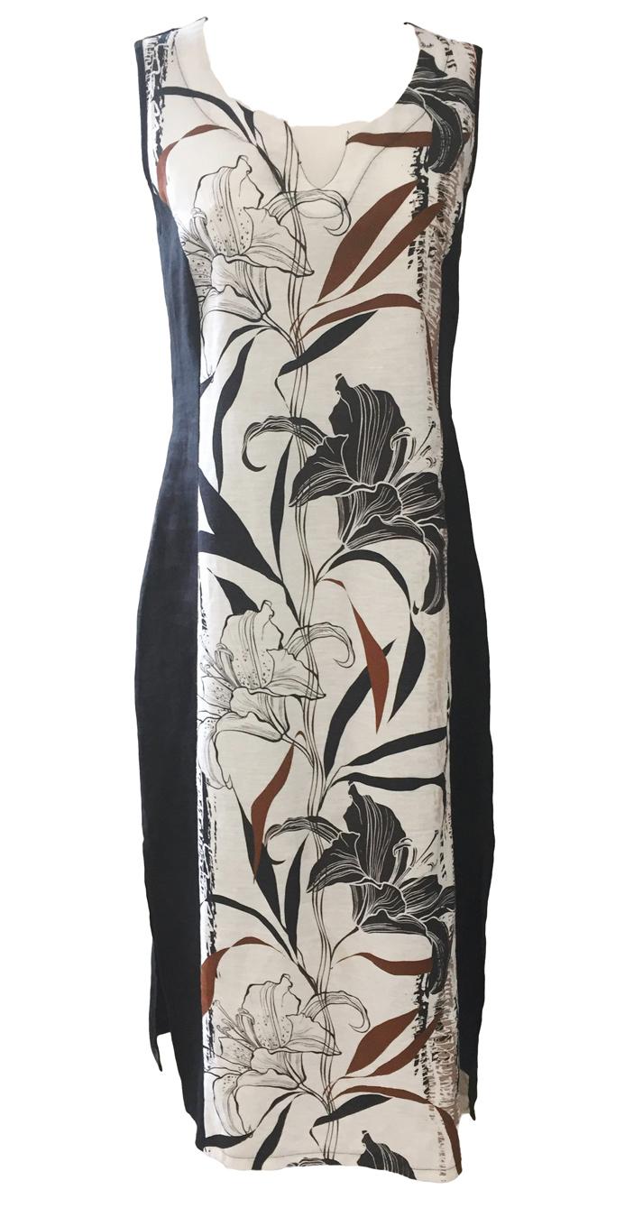 Maloka: Black Lily Sketch Art Colorblock Linen Maxi Dress (1 Left!)