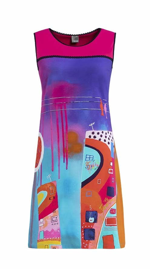 Simply Art Dolcezza: Fuschia Paint Spill Flared Sundress SOLD OUT DOLCEZZA_SA_19634_N2
