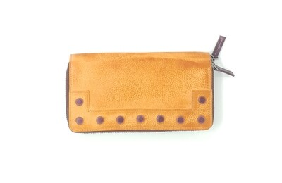 Double zipped purse duo-coloured washed style