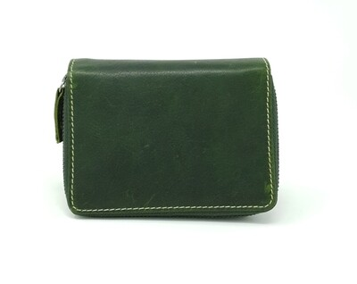 Purse with loop and zipped compartment made from oiled pull-up leather