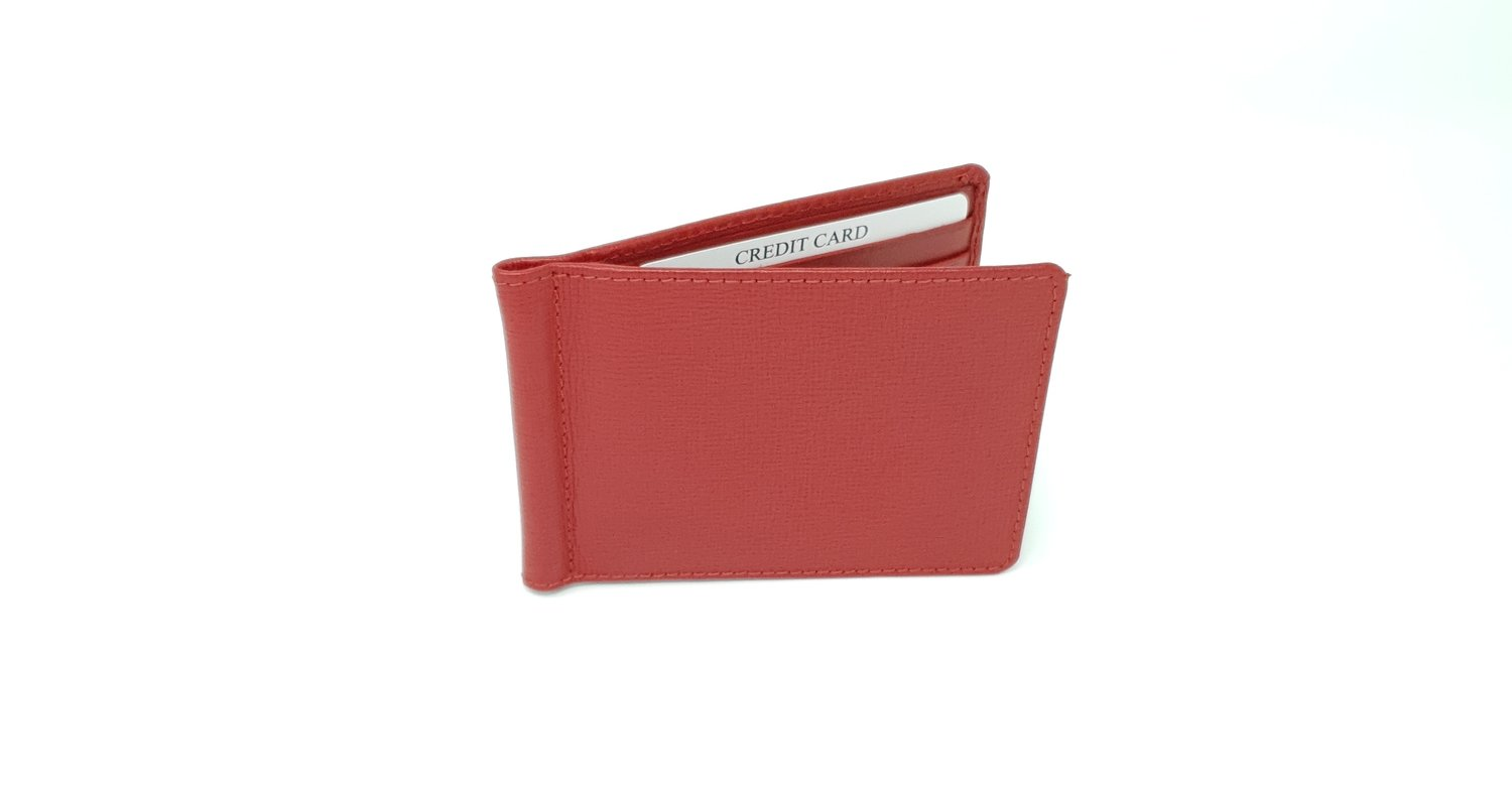 Men's wallet with money clip, saffiano leather