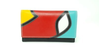 Women's purse with button, pop-art style, L-size
