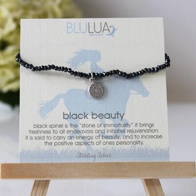 Black Spinel Stretch Bracelet Sterling Silver