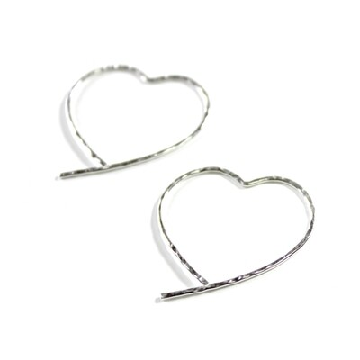 Sterling Silver Open Heart Earrings