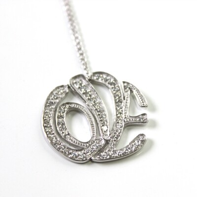 Sterling Silver Love Typography Necklace