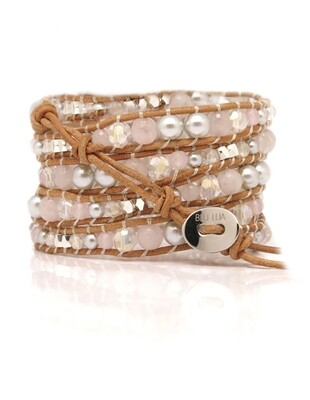 Rose Quartz Silver Bead Wrap Bracelet
