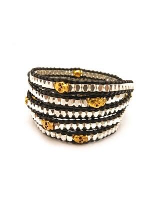 Skulls on Black Wrap Bracelet