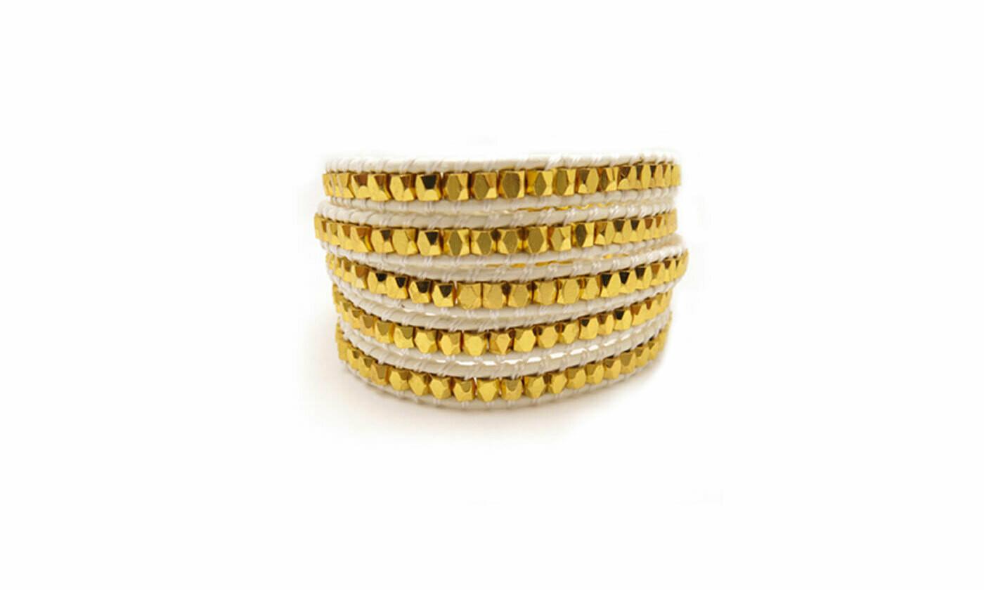 White and Gold Bead Wrap Bracelet