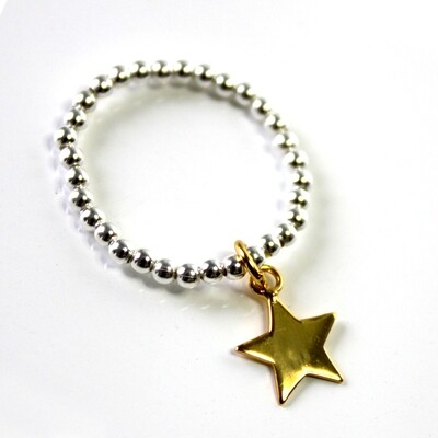 Vermeil & Sterling Silver Star Stretch Ring