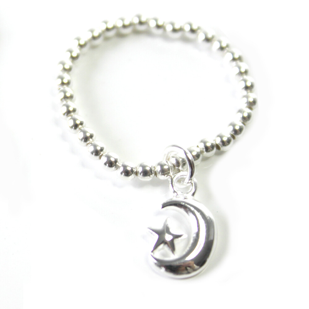 Sterling Silver Moon &Star Stretch Ring
