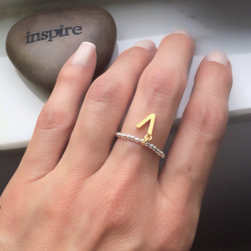 "Vermeil & Sterling Silver ""V"" Is For Vegan Stretch Ring"