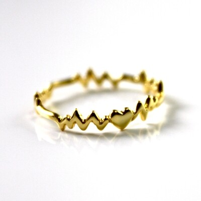 Vermeil Heart Beat Ring Size 6