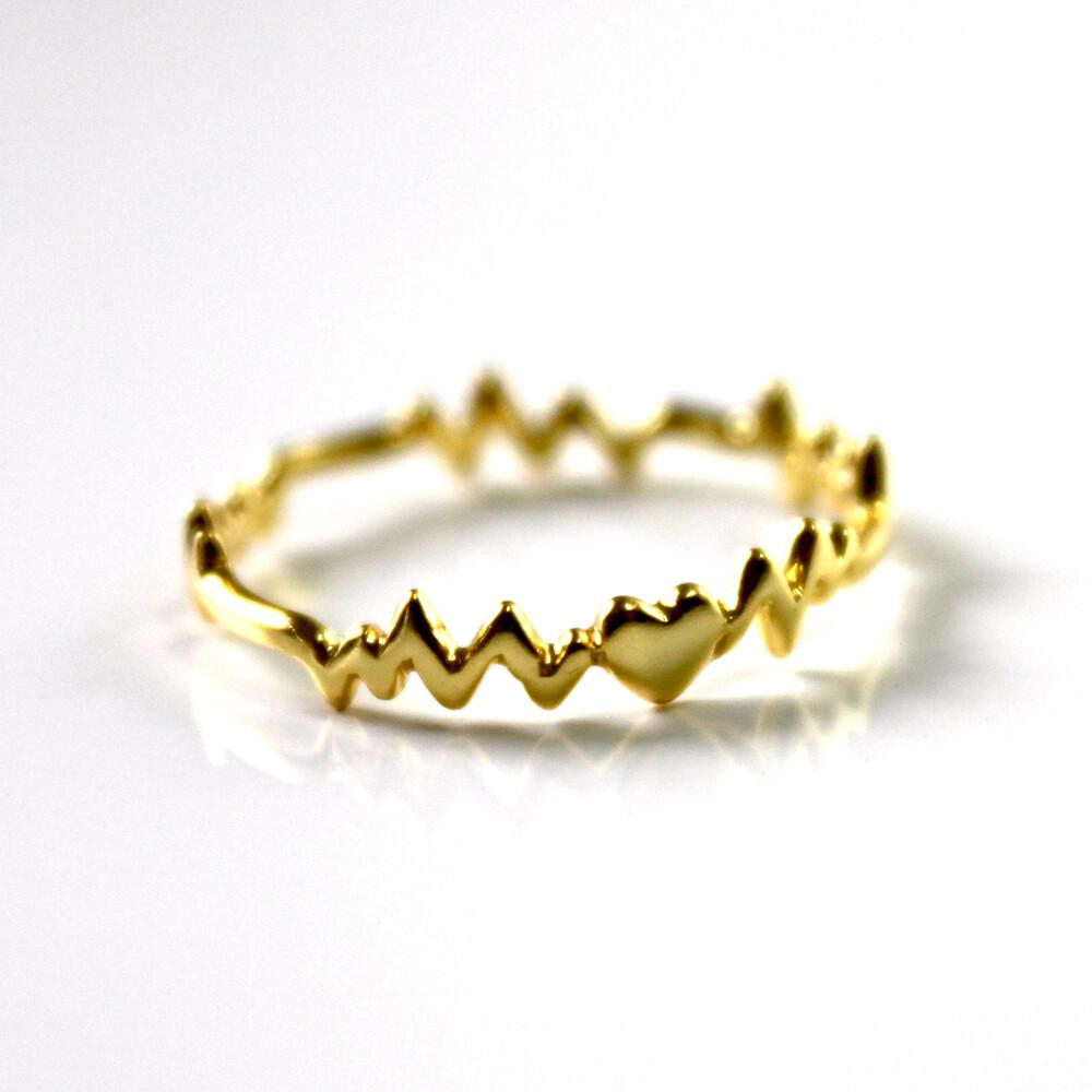 Vermeil Heart Beat Ring Size 7