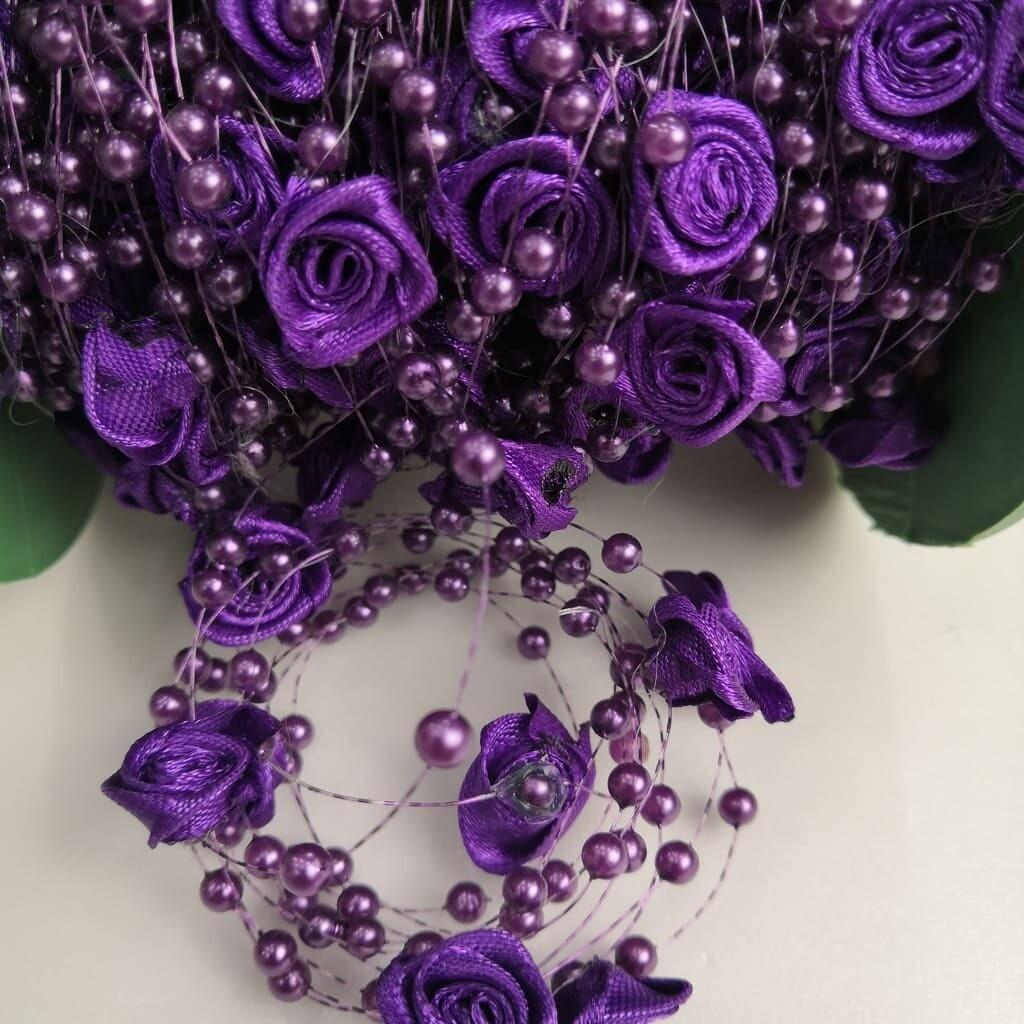 Бусы на леске с розочкой (Фиолетовый)