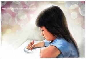 The girl draws