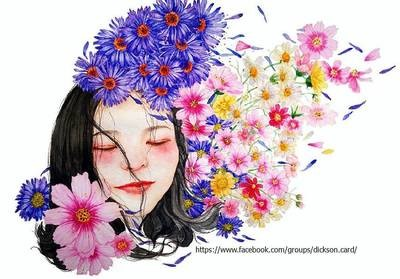 Baby face in flowers