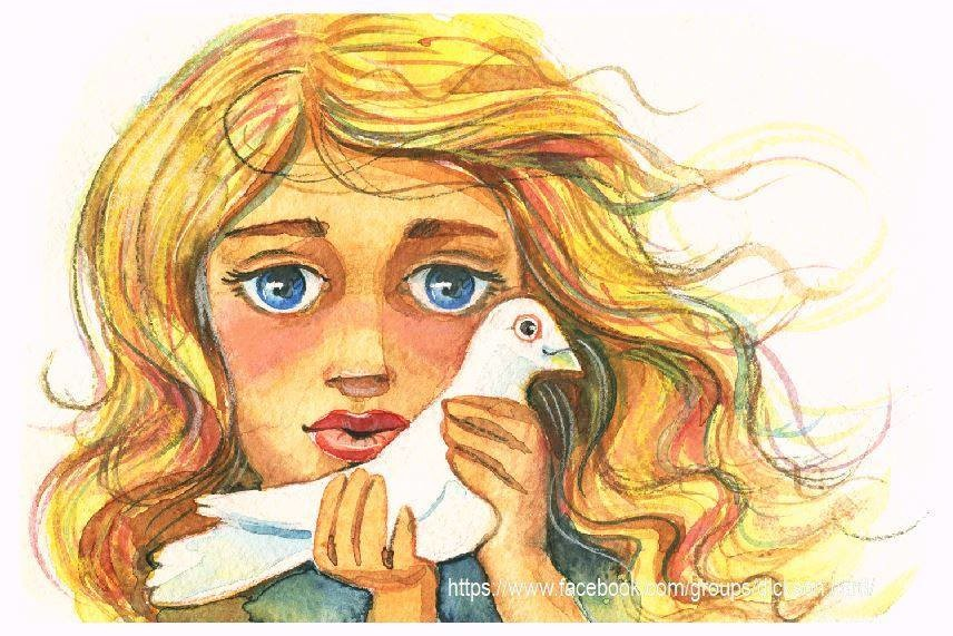 NEW. Girl with dove