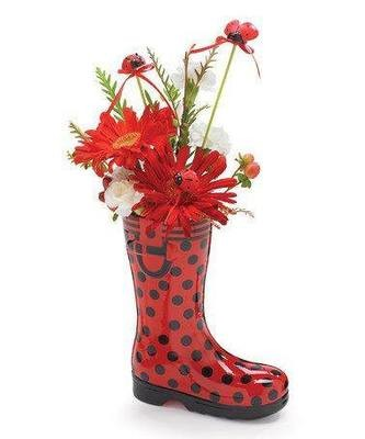 Flowers in red boots