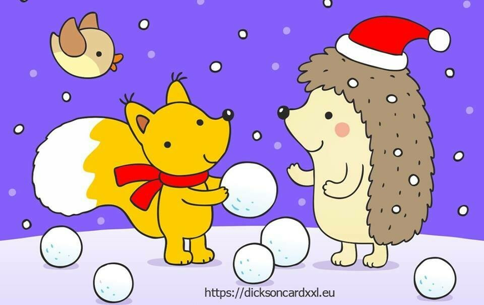 Hedgehog and squirrel with snowballs Еж и бельчонок со снежками