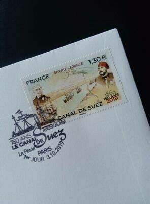 First day cover. Célébrer les 150 ans du Canal de Suez (émission conjointe avec La Poste égyptienne