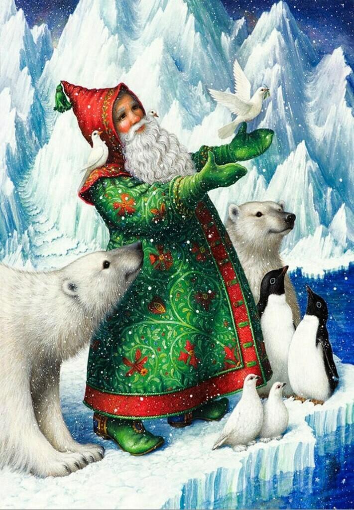 Santa Claus in a green coat with polar bears