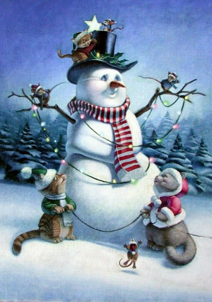 Snowman with a garland and cats.  Снеговик с гирляндой и коты
