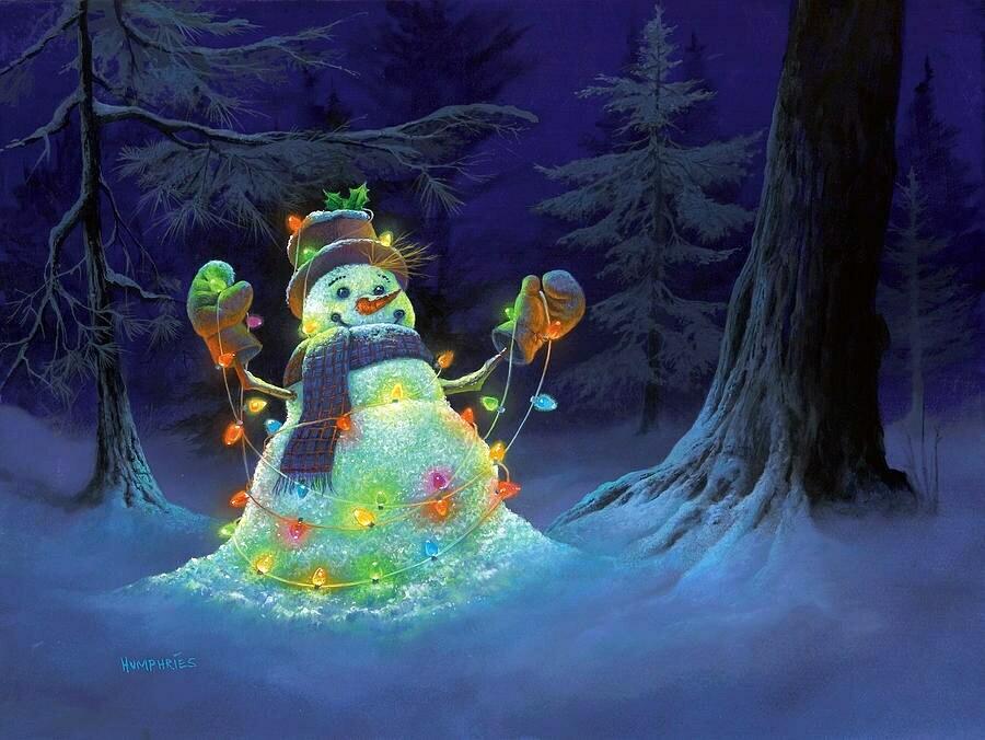 Snowman with garland. Снеговик с гирляндой
