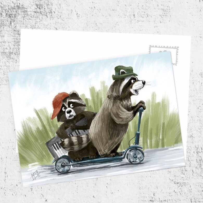 "Postcard ""Brothers raccoons"""