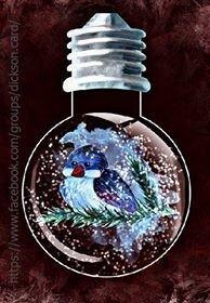 Snowy tit in a light bulb