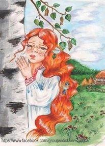 Girl behind a tree by © Victoria Romanova