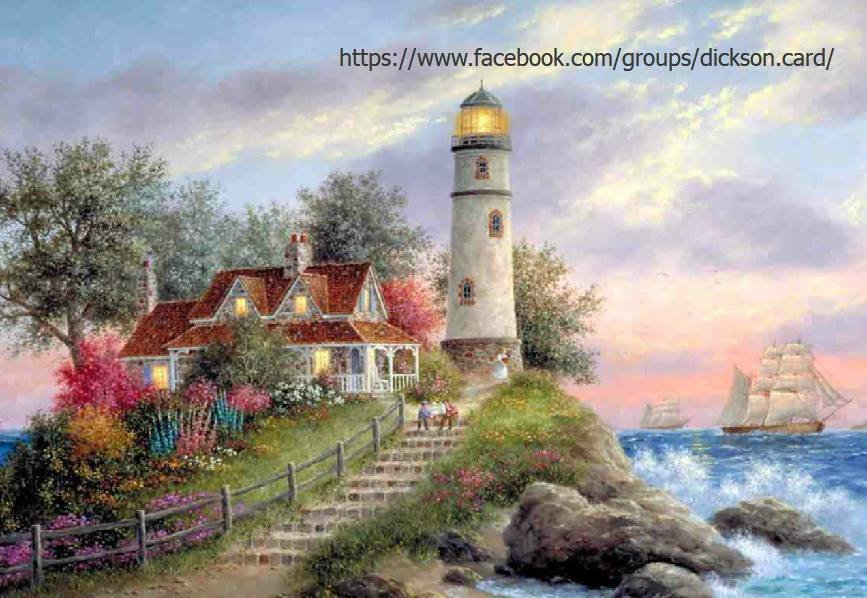 Ladder to the lighthouse and ship by Thomas Kinkade